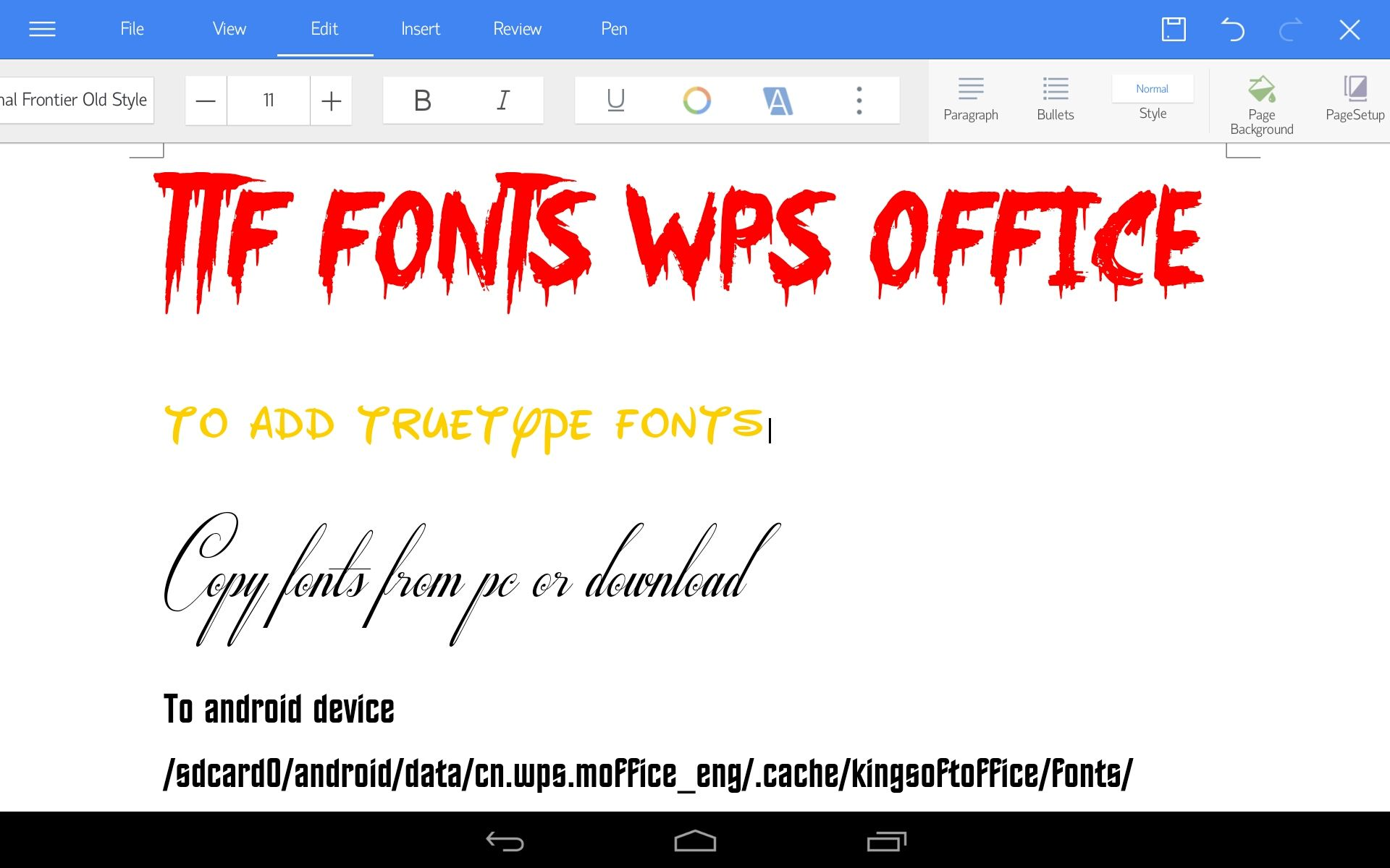 Download Adding Truetype Font To WPS Office Android